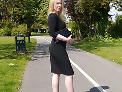 Traditional English Milf Jenny is wearing a sexy black dress and matching tall black high heels