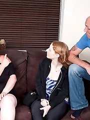 Sleazy young BBW blonde asks for help from BFF and ends up fucking her hubby