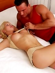 Sexual blonde babe gets skinny ass fucked and divine tits creamed