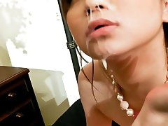 Rui Yazawa Asian licks penis after rubbing it of her hot melons