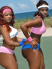 2 horny ebony babes are fucking the shit outta these guys in dongs and movies