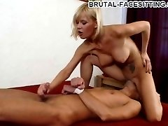 Busty blonde mistress gives her slave a crazy hardcore handjob while facesitting him with no...