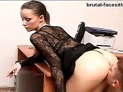 Horny strict lady boss loves when the system administrator eats her out