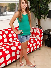 Kimmy Granger pulls down panties and fingers pussy.