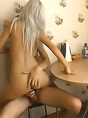 Blonde amateur teen gets fucked on kitchen table