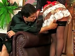 Sex-crazy French maid and her master taking kicks from a hot oral-anal fun