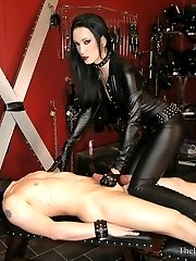 Lizas Leather Handjob