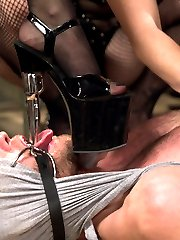 4 gorgeous prostitutes seize the local jail and capture the new rookie cop. Hot, intense 4 on one femdom at it\'s best! Ass worship, pussy licking, tease and denial, cock milking, strap-on ass fucking, humiliation and punishment all included!