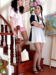 Naive schoolgirl clad in light grey tights getting licked by horny lez babe