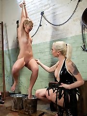Chloe Camilla gets double teamed by hot blonde doms Lorelei Lee and Lily LaBeau with bondage....