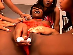 Black lesbian party with hot dykes getting each other off