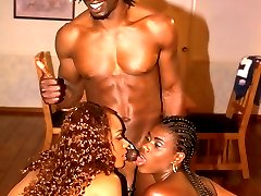 Two ultra sexy black sluts slurps a big prick and gets facoalized