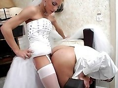 Extremely seductive shemale bride fucking kinky groom from both his ends