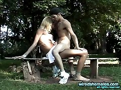 Outdoor ass-splitting with richly endowed shemale and her horny boyfriend