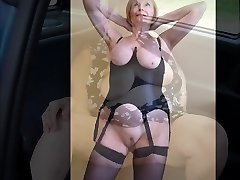 Busty blonde playing with her perfect tits, pulling off her sexy panties and showing of her sweet pussy