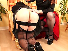 After getting bored watching her TGirl friend reading, tranny bitch Luci May decides to spank...