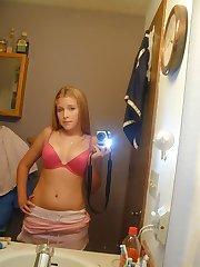 Doll admiring her hot body near the mirror