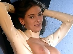Beautiful busty babe stripping, playing with her sexy nipples, spreading her pussy and fucking...