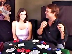 Sexy slut loses playing strip poker and has to strip suck cock