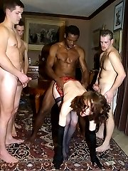 Amateur Bitch Ramming and Fucking Four Dicks
