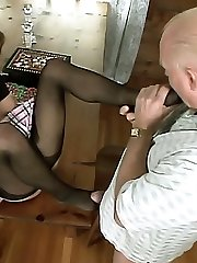 Naughty Natalie Sky gets her stockinged soles and toes licked before she foot porks