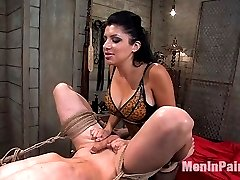 Nomad is a lucky little slave. Sativa has him hidden in her basement apartment and shows him exactly why when she isn't joking around. He is used and abused by this insatiable mistress and taught not to disappoint her. She administers pain, strap-on and uses his cock for her own titillation.