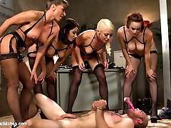 4 gorgeous prostitutes seize the local jail and capture the new rookie cop. Hot, intense 4 on one femdom at it's best! Ass worship, pussy licking, tease and denial, cock milking, strap-on ass fucking, humiliation and punishment all included!