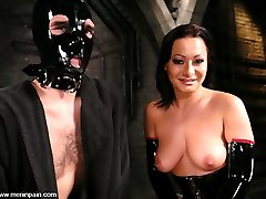 Sandra's verbal humiliation is first rate, and today she has 'lefty' eating out of her hand and begging for more. Mistress Sandra's tight latex, tall boots and bitchy demeanor accent lefty's painful screams as he is fucked in the ass with a dick on a stick.  As usual his hard cock gets him in more trouble, and he is soon in a predicament that has his balls tied tightly to a weighted line.  The more weight he takes, the closer Mistress's mouth and delicious pussy get to his straining cock.Sufficient begging, pleading and pain get lefty in a situation where Mistress can make good use of his hard cock and dildo-gagged face, and she makes short work of getting off and milking his cock of every ounce of cum.