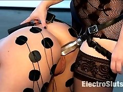 Episode 2: Hanna Reilly is not only brand new to electrosex but is also brand new to porn! I love getting these newbies who have no idea what to expect and are just so curious and timid to the site and sound of all the implements within the Electro Sluts room. Their eyes light up with a unique glow of anticipation combined with anxiety and fear, which allows for genuine reactions to the electro-experiences. Hanna is ready for more, in this second round with Goddess Aiden Starr, she is put to another test of how much can you take while being fucked, HARD with a rock solid acrylic strap-on. Watch Aiden fuck this young thing to exhaustion and then turn the electricity up full blast for a lasting impression.
