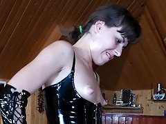 Tied guy gets spread on the billiard table for strap-on fuck with a hottie