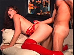 Hammering a babe with a thick hairy pussy