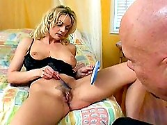 Lusty blonde with hirsute cunt enjoys screwing