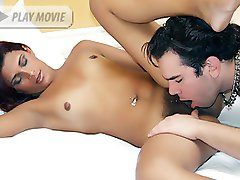 Sexy chick Lorany deepthroats a thick wang and got her hairy pussy pleasured then fucked