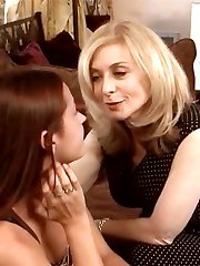 Smokin' hot blonde Nina Hartley seduces Elexis Monroe before they lick and play with each other