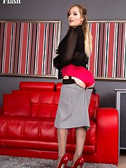 Yasmin knows just the thing to relax as she slips off her outer clothing, unclips that bra and lets satin panties drop!