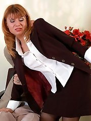 Nasty secretary in control top stockings getting her beaver ploughed from behind