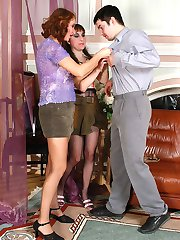 Nylon clad gals clothe guy like a sissy and get doggystyle in group action