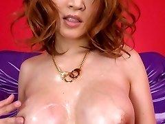 Yuki Touma with lubed kinks sucks boner while fingering her twat