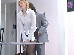 Vivacious babe fitting pantyhose on her head before giving great blowjob