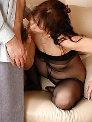 Hot milf getting banged through crotchless pantyhose after wild celebration