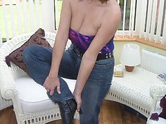 Big breasts wife at home in her jeans