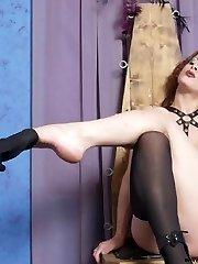Dark-hued and white leasbian femdom