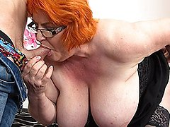 Huge breasted mature lady sucking and fucking