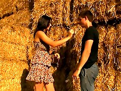 Hidden only by a stack of hay, these teens satisfy their deepest sexual desires. His cock plunges deep inside of her tender pussy and he doesn`t pull out until he`s ready to cum all over her.