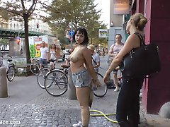 Busty Bitch Pina De Luxe is a Filthy Whore who needs Mona Wales to wash out her slutty dirty mouth with soap. That doesn't stop soaking wet Pina from crawling on her hands and knees all over the dirty streets. What's dirtier than those streets? A filthy underground sex club where Pina is made to service all the huge cocks there. This dick whore is punished with corporal, electric zappers, floggers, bondage, fisting and a face full of cum. This crowded club humiliates the curvy pain slave.