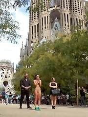 Barcelona is a city of dick shaped buildings. Mona Wales takes a Public Disgrace favorite, Carolina Abril, on a pilgrimage to worship huge cock at the base of these large phallic buildings. Mona begins her humiliation of Carolina by having her slide her white cotton panties off, exposing her bald cunt to a crowd of construction workers. Mona, unsatisfied with her subjects faith in cock takes her to a church where Carolina gets on her knees and prays to be penetrated as she is completely surrounded by excited onlookers. Carolina gets her prayers answered in a local salon where she gets repeatedly fucked as she is grabbed, slapped and fucked by a cheering crowd.