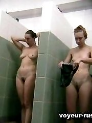 Slim tanned hottiessecretly caught on cam while taking a steamy shower
