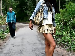 Swarthy doll flashes pussy behind people�s backs