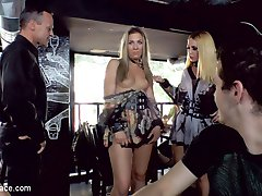 These two blondes will go to any length to please their dominant. After being publicly humiliated, Mandy and Isabella Clark are taken to a crowded bar to be used for everyone's entertainment. Issabella is striped naked and crawls along the filthy floor in a pathetic attempt to find a cock to suck. Mandy desperately needs to have her MILF ass pounded till she cant remember who she is. Propped up on a table three men take turns penetrating her asshole until it is gapping and ready for more. With a huge crowed of shocked onlookers Mandy's ass swallows a mans fist up his wrist. His feverish colon punching pushes Mandy over the edge. The crowd gasps when her fuck holes pumps with the waves of orgasms. In an attempt to not be overshadowed by Mandy's anal acrobatics, Isabella takes one cock in her sloppy cunt and another jammed into her ass. After being fully used up Isabella tilts her head back for her three load facial.