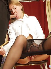 Leggy secretary babe in black sheer-to-waist pantyhose craving for hard sex